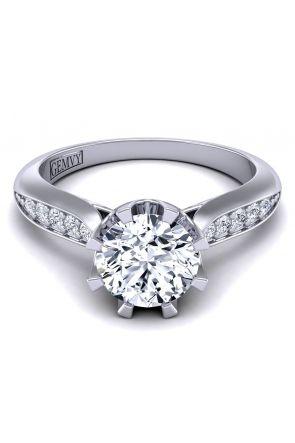 Petite tapered pavé custom diamond ring SW-1450-L SW-1450-L