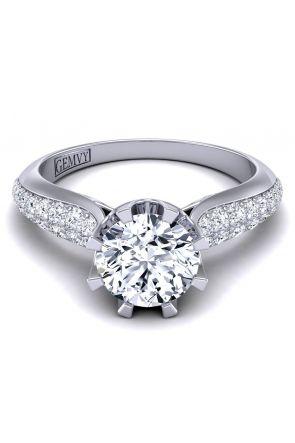 Custom micro pavé swan inspired round diamond ring SW-1450-M SW-1450-M