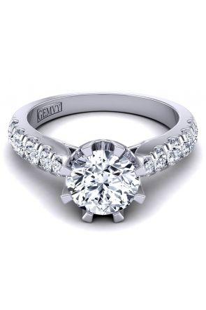 Tapered U cut petite pavé crown diamond engagement ring SW-1450-N SW-1450-N