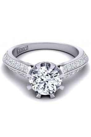 Two row pavé designer diamond engagement ring SW-1450-Q SW-1450-Q