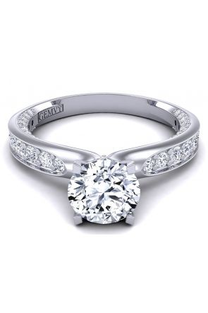 Swan inspired modern Art Nouveau pavé diamond engagement ring SWAN-1176-A SWAN-1176-A