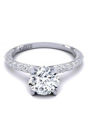 Petite Modern surface pavé custom diamond engagement ring SWAN-1176-B SWAN-1176-B