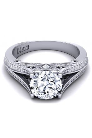 Designer cathedral style pavé diamond engagement ring SWAN-1178-A SWAN-1178-A
