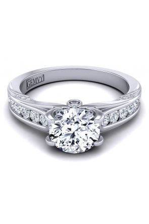 Unique round cut channel set diamond engagement ring SWAN-1436-A SWAN-1436-A