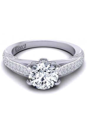 Micro pavé custom platinum diamond engagement ring  SWAN-1436-C SWAN-1436-C