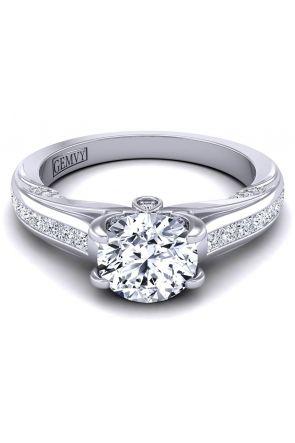 Custom designed Princess channel set diamond engagement ring SWAN-1436-D SWAN-1436-D