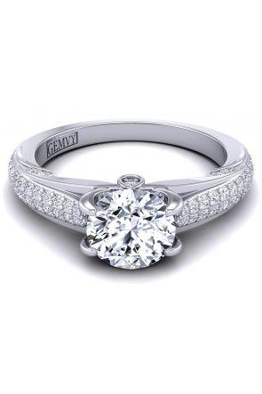Bold micro-pavé custom white gold diamond engagement ring SWAN-1436-F SWAN-1436-F