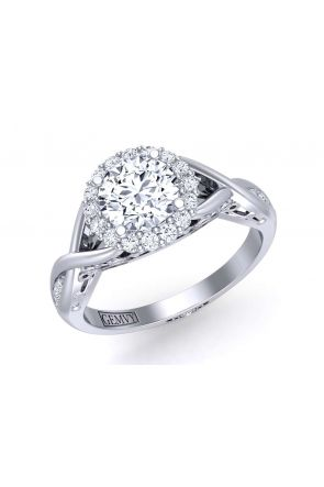 Unique twisted band custom designed halo engagement ring TEND-1180-HB TEND-1180-HB