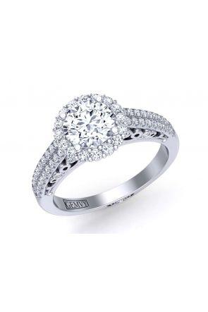 Floral halo double row pavé diamond engagement ring TEND-1180-HC TEND-1180-HC