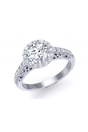 Slim band floral diamond halo engagement ring TEND-1180-HD TEND-1180-HD