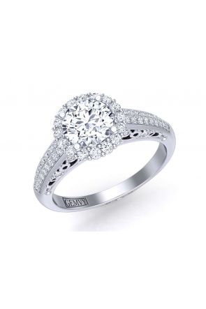 Two-row micro pavé bold diamond halo engagement ring TEND-1180-HE TEND-1180-HE
