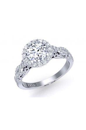 Unique double twisted designer halo diamond setting TEND-1180-HF TEND-1180-HF