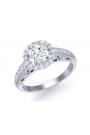 Graduated diamond channel pavé halo engagement ring TEND-1180-HG TEND-1180-HG