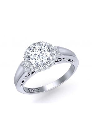 One-of-a-kind concave band halo diamond setting TEND-1180-HH TEND-1180-HH
