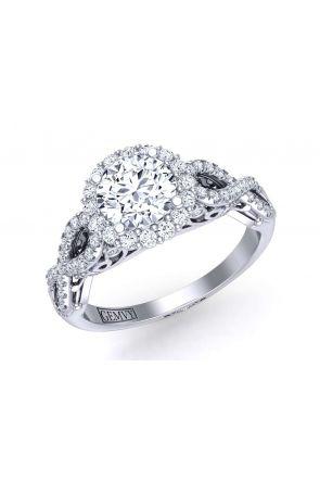 Infinity twist halo pavé diamond engagement ring TEND-1180-HK TEND-1180-HK