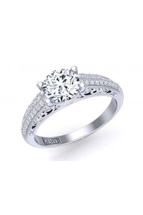 Two-row micro pavé gold diamond solitaire setting TEND-1180-SA TEND-1180-SA
