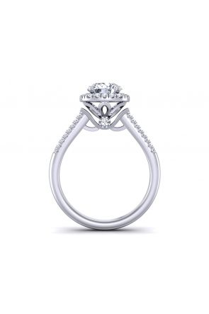 Two-row micro-pavé high profile unique round halo engagement ring  TLP-1200H-BH TLP-1200H-BH