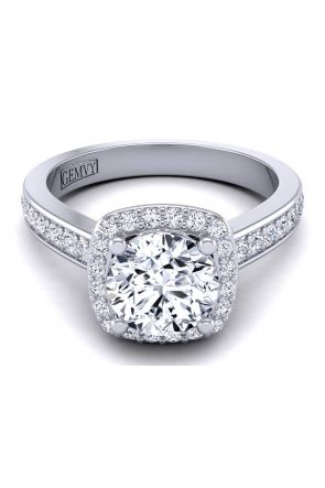 Petite cushion shaped pavé set halo diamond engagement ring TLP-1200H-CH TLP-1200H-CH