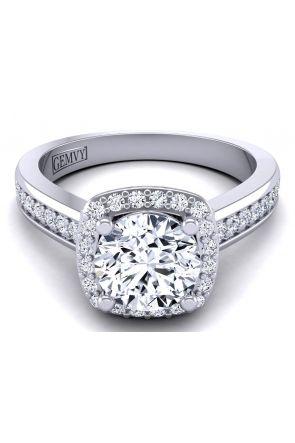 3mm band pavé set diamond halo engagement ring TLP-1200H-FH TLP-1200H-FH
