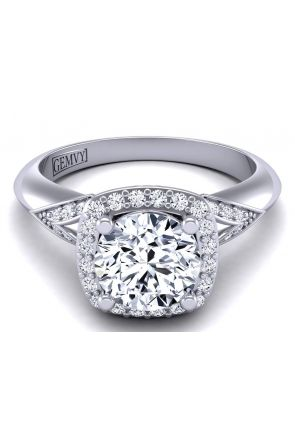 Plain band artistic one-of-a-kind halo engagement ring setting TLP-1200H-HH TLP-1200H-HH