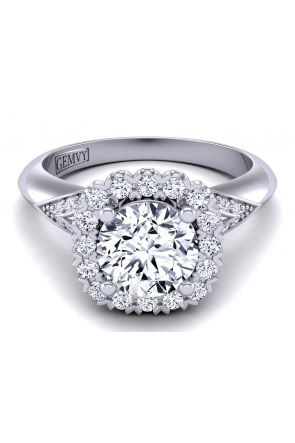 Unique band designer engagement ring with exquisite floral halo  TLP-1200H-MH TLP-1200H-MH