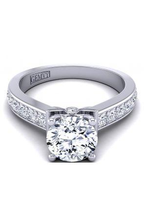 Channel pavé-set solitaire minimalist diamond setting TLP-1200S-BS TLP-1200S-BS