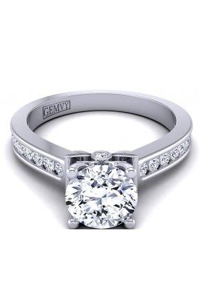 Minimalist designer round channel set diamond engagement ring.  TLP-1200S-CS TLP-1200S-CS