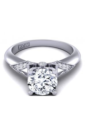 Unique band designer engagement ring with exquisite solitaire prong design  TLP-1200S-DS TLP-1200S-DS