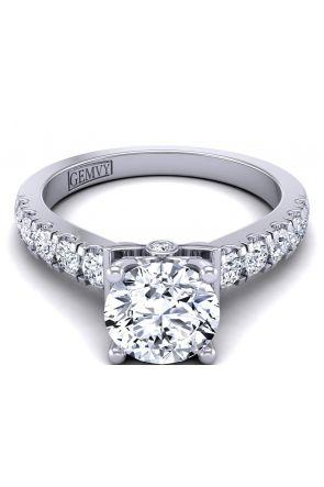 2.5mm u-cut scalloped pavé diamond engagement ring setting TLP-1200S-KS TLP-1200S-KS