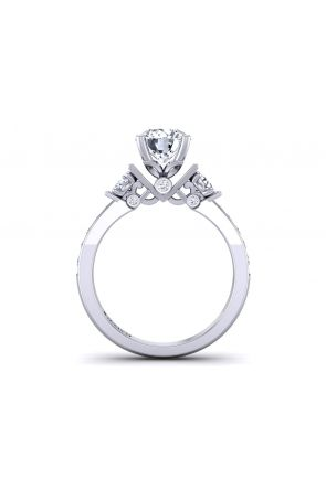 Channel pavé unique three-stone round cut diamond engagement ring  TLP3-1200-E3 TLP3-1200-E3
