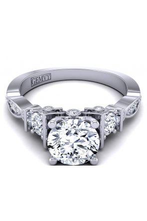 Vintage style 3-stone flower inspired diamond ring setting TLP3-1200-G3 TLP3-1200-G3