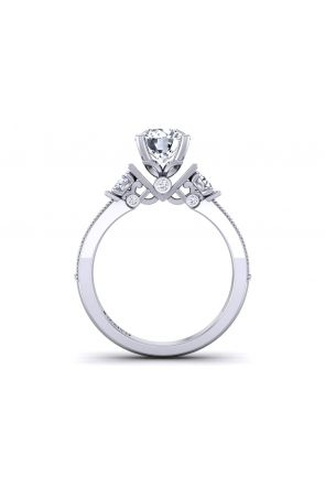 pavé set unique three-stone round diamond engagement ring TLP3-1200-H3 TLP3-1200-H3