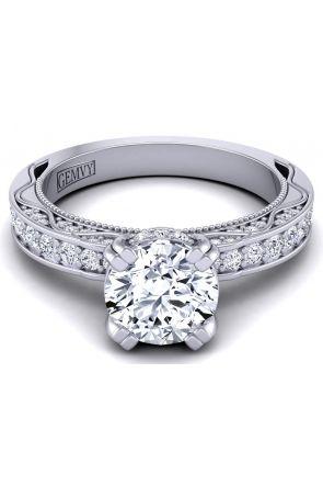 Tapered shank channel pavé set round diamond semi-mount  WIST-1510S-DS WIST-1510S-DS