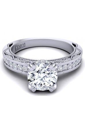 2.8mm band antique style engagement ring with pavé set diamonds WIST-1510S-ES WIST-1510S-ES
