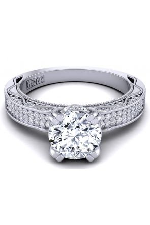 Micro pavé two-row vintage style diamond engagement ring  WIST-1510S-FS WIST-1510S-FS