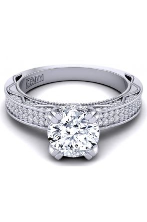 Bold two-row art deco wisteria inspired engagement ring WIST-1510S-GS WIST-1510S-GS