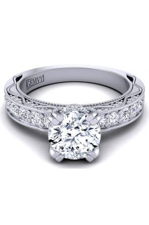 Designer engagement ring with round pavé set diamond band WIST-1510S-HS WIST-1510S-HS