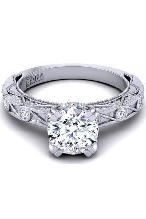 Artistic pavé and bezel designer diamond engagement ring WIST-1510S-LS WIST-1510S-LS