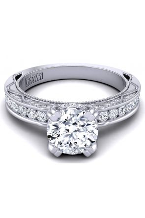 Round channel-set modern vintage style engagement ring WIST-1510S-NS WIST-1510S-NS