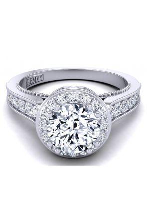 Milgrain floral halo custom diamond engagement ring WIST-1517-A WIST-1517-A