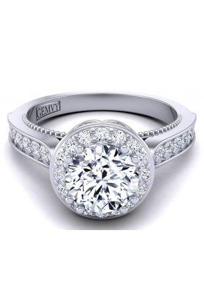 Knife edge pavé set modern vintage style halo engagement ring WIST-1517-B WIST-1517-B