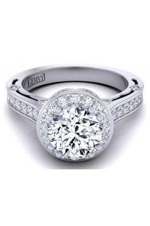 pavé set floral vintage style cathedral semi-mount diamond engagement ring WIST-1517-C WIST-1517-C