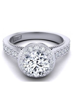 High profile cathedral vintage style halo engagement ring WIST-1517-D WIST-1517-D