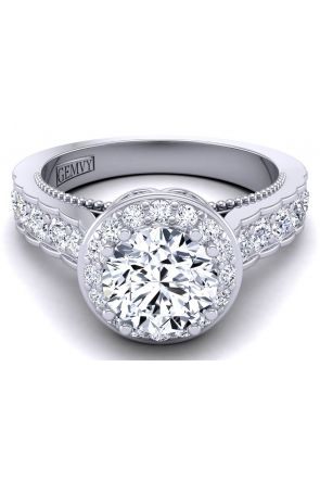 Vintage style floral halo engagement ring WIST-1517-G WIST-1517-G-1