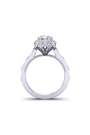 One-of-a-kind modern vintage style halo diamond engagement ring WIST-1517-H WIST-1517-H