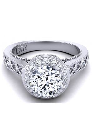 Detailed floral inspired diamond engagement ring WIST-1517-J WIST-1517-J