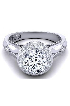 Custom cathedral vintage style floral halo diamond ring WIST-1517-K WIST-1517-K