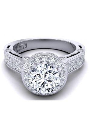 Bold micro pavé vintage style designer engagement ring WIST-1517-M WIST-1517-M
