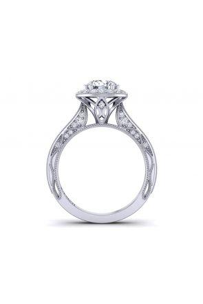 Modern vintage style pavé set halo diamond engagement ring WIST-1529-HA WIST-1529-HA