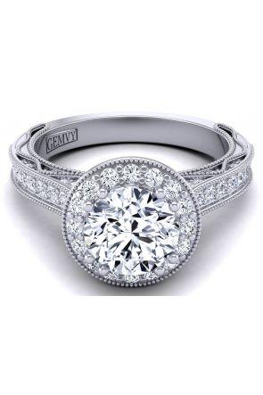 Milgrain designer one-of-a-kind custom halo diamond engagement ring WIST-1529-HB WIST-1529-HB